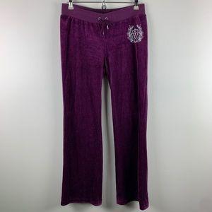 Juicy Couture Purple Velour Track Pants Sz Small